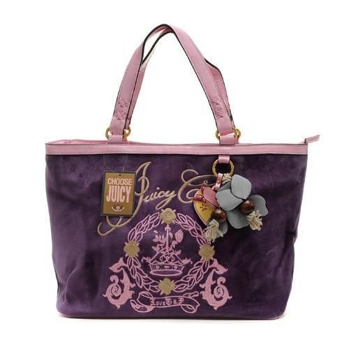 Juicy Couture Butterfly Heart cha rmed Tote Bag Purple