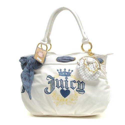 Juicy Couture Coin Purse cha rmed Leather Handbag White