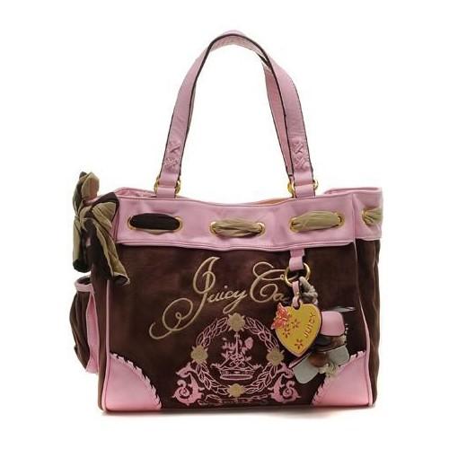 Juicy Couture Daphne Tassel Velour Handbag Coffee-Pink