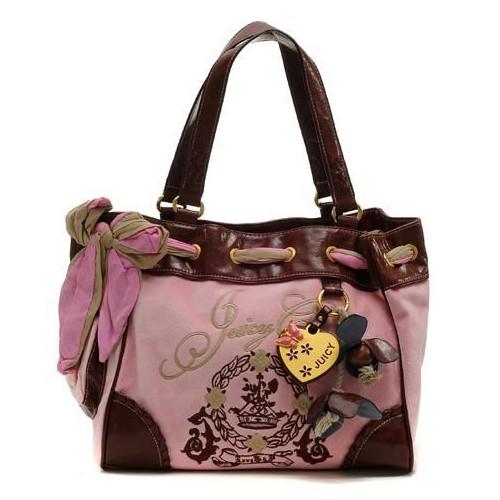 Juicy Couture Daphne Tassel Velour Handbag Pink-Brown