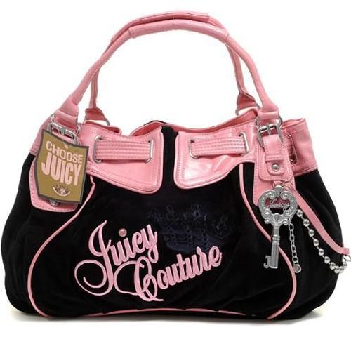 Juicy Couture Free Style Velour Handbag Black-Pink