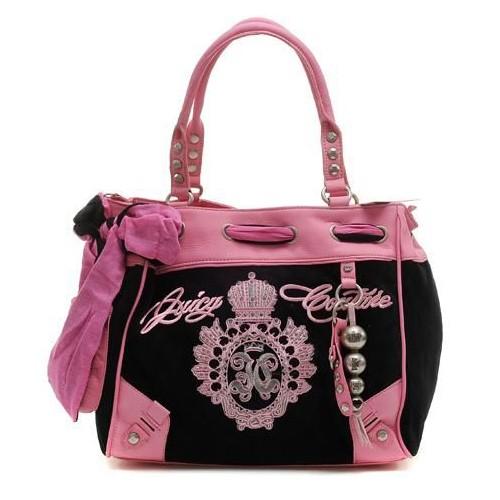 Juicy Couture Metal Medallion Crown Handbag Black-Pink