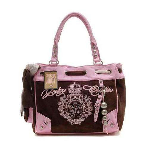Juicy Couture Metal Medallion Crown Handbag Coffee-Pink