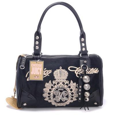 Juicy Couture Studded Velour Madge Handbag Black