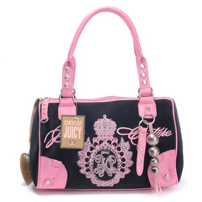 Juicy Couture Studded Velour Madge Handbag Black-Pink