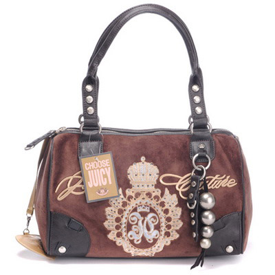 Juicy Couture Studded Velour Madge Handbag Coffee