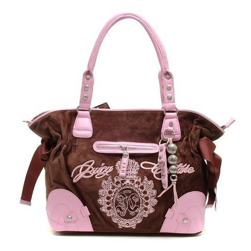 Juicy Couture Studded Velour Shoulder Bag Coffee Pink