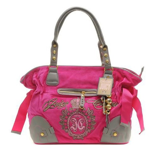 Juicy Couture Studded Velour Shoulder Bag Mulberry-Grey