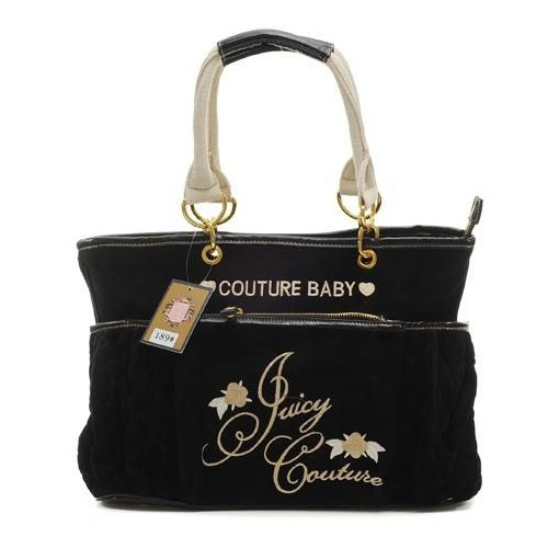 Juicy Couture Terry Quilted Diaper HandBag Black