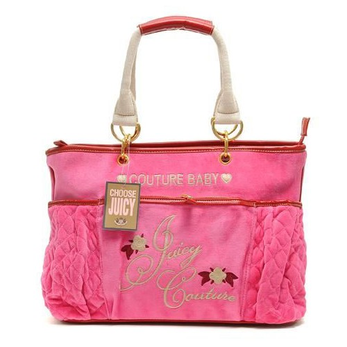 Juicy Couture Terry Quilted Diaper HandBag Fuschia