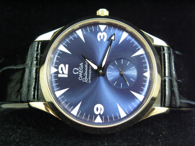 OMEGA RAILmaste r GOLD HAND WINDING BLUE DIAL LEATHER