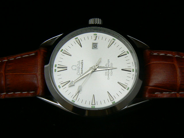 OMEGA SEAmaste r AUTOMATIC WHITE SILVER BROWN LEATHER