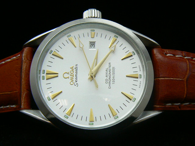OMEGA SEAmaste r AUTOMATIC WHITE GOLD BROWN LEATHER