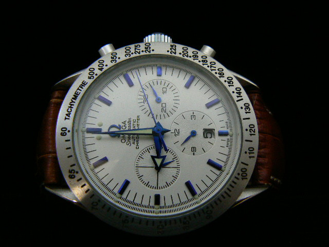 OMEGA SPEEDmaste r AUTOMATIC ch rONO BROWN LEATHER
