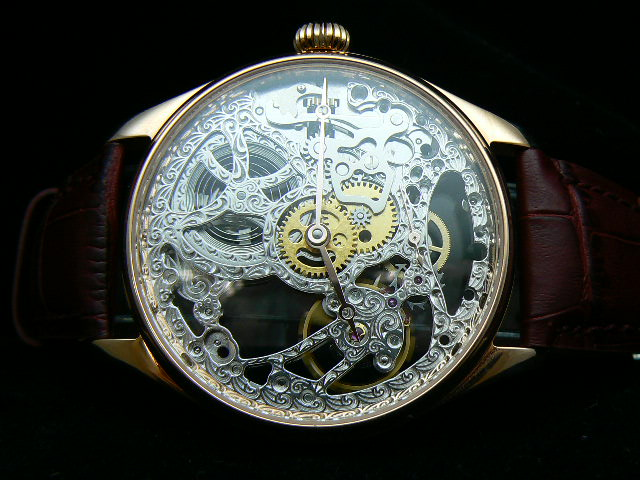 IWC SCHAFFHAUSEN MIN REPEATER SKELETON BLACK LEATHER