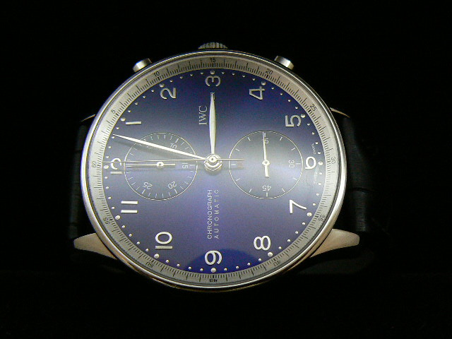 IWC PORTUGUESE ch rONO BLUE SILVER ARABIC 7750