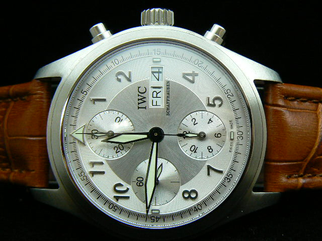 IWC SPITFIRE ch rONO LEATHER SILVER 7750