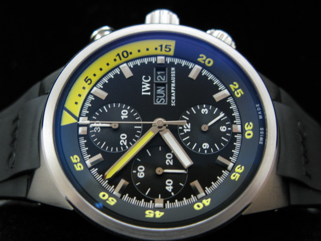 IWC AQUATIMER COSTEAU DIVERS YELLOW ACCENT A-7750 RUBBE