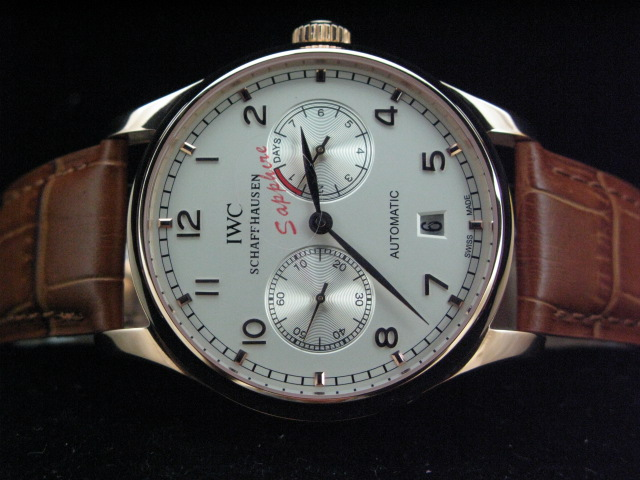 IWC PORTUGUESE 7 DAY POWER REVERSE GOLD CASE BROWN LEAT