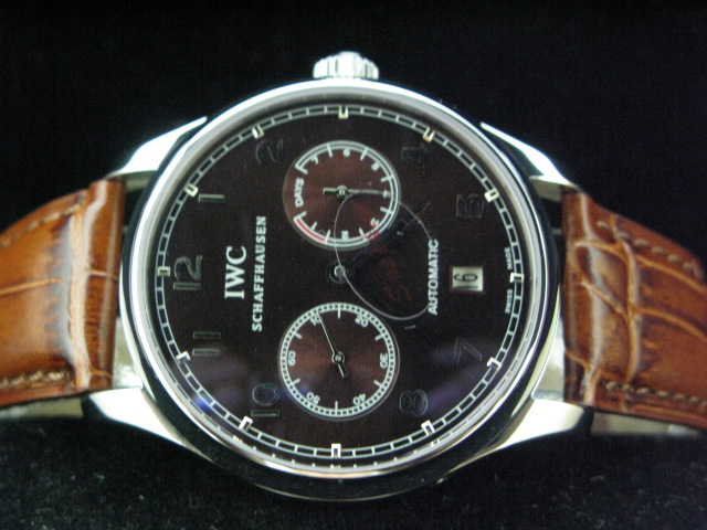 IWC PORTUGUESE 7DAY POWER REVERSE BLACK DIAL BROWN LEAT