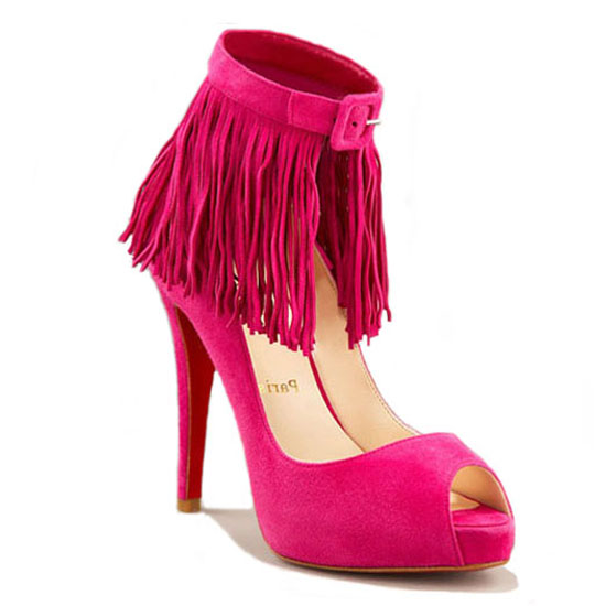ch ristian Louboutin Pumps Suede Fringe Red