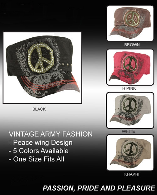 Vintage Peace Wing Embroidered Army Fashion Cap