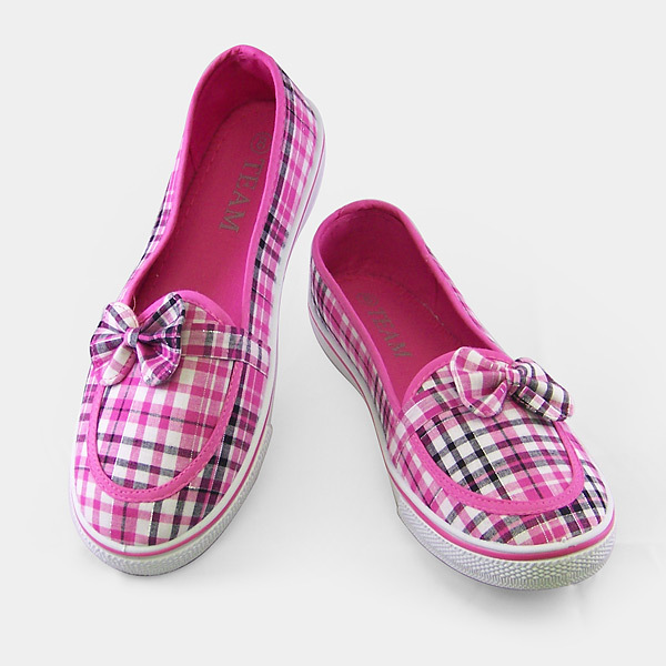 Pink Bowknot Checkered Fabric Shoes