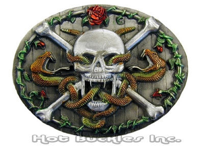 Skull & Snakes Pewter Biker Buckle with Belt Included