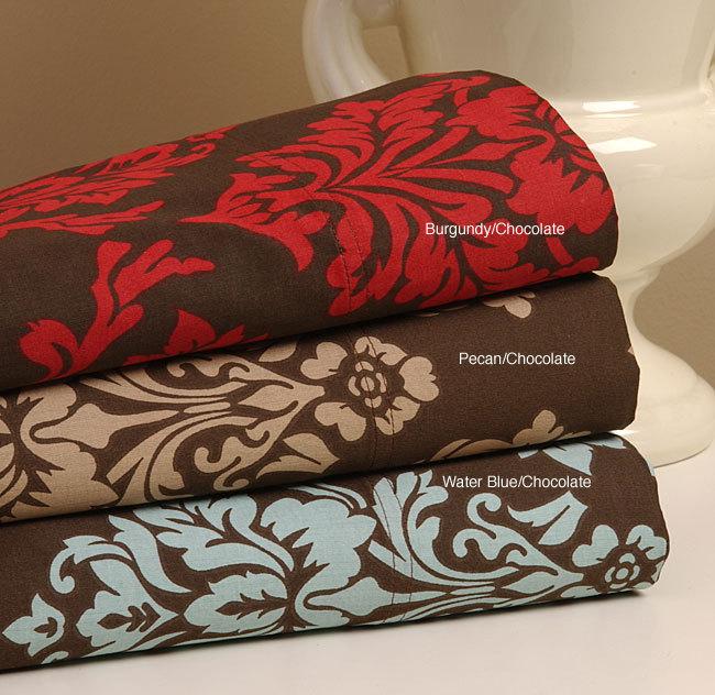 Dark Havana Floral 300 Thread Count Pillow Cases Set 2