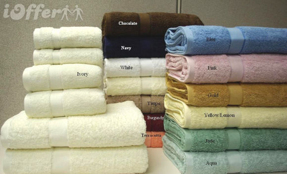 Solid Combed Egyptian Cotton 6pc Bathroom Towel Set