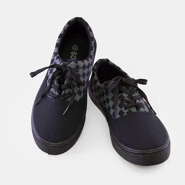 Black Checkered Sport Style Fabric Shoes