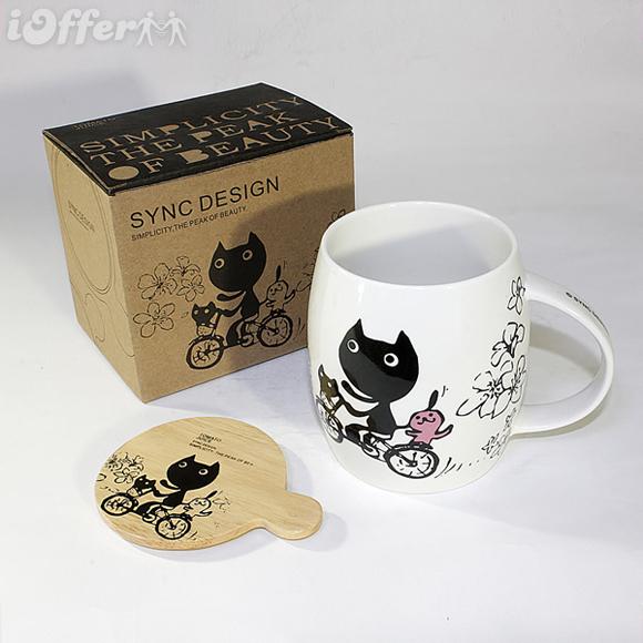 Kitty Bike Coffee Mug & Wood Lid *NEW*