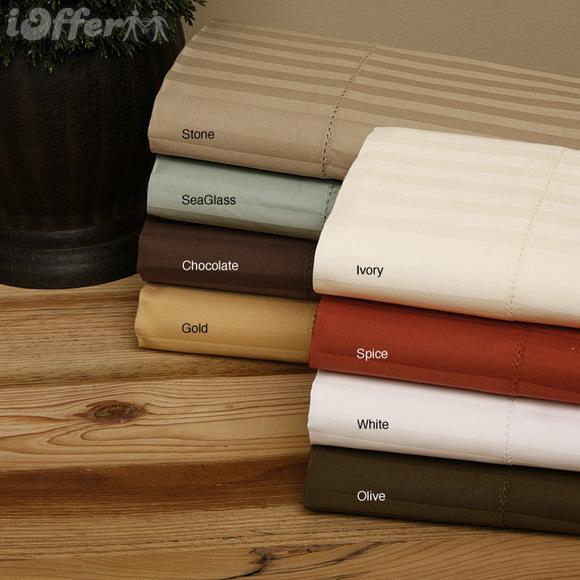 Luxury Hemstich 800TC Woven Stripe Cotton Sheet Set