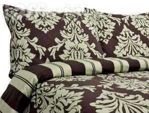 Havana 300TC Cotton Reversible Duvet Cover Set Chocolate/Sage