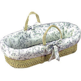 Wicker Toile Moses Basket, Bumper and Stand Set *NEW*