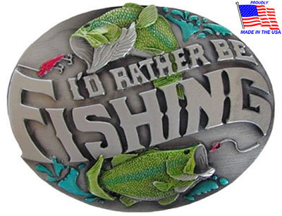 'I'd Rather Be Fishing' Belt Buckle with Belt Included