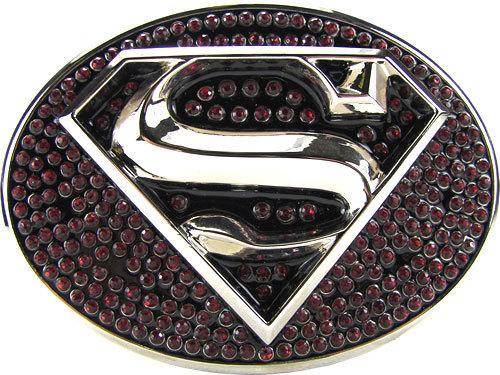 Licensed Rhinestone Superman Belt Buckle, Belt Included