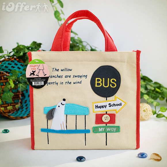 Dog At Bus Stop Embroidered Applique Fabric Lunch Bag