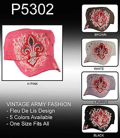 Vintage Army Fashion Embroidery Fleu de Lis Design Cap